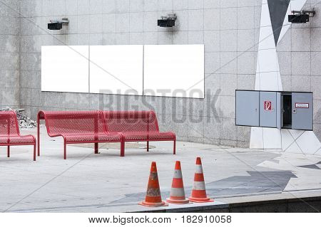 City Blank Ad Space Red Benches Subway Station Far Wall