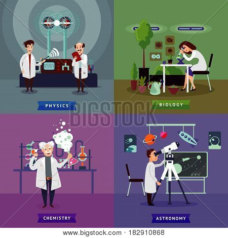 Flat scientific research square concept with chemist biologist physicists and astronomer in laboratory vector illustration