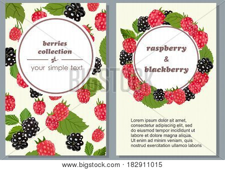 Vector vertical banners with berries and leaves of blueberries and raspberries on a light background. Background pattern for tea and jam, confectionery and bakery products, packaging design and textiles.