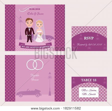 Decorative wedding invitation cards set with romantic couple classic retro car and pole isolated vector illustration