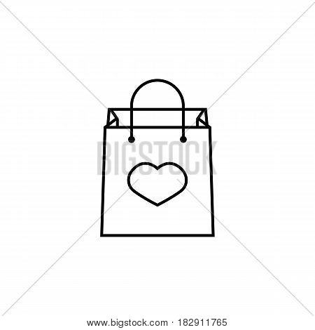 Shopping bag with heart line icon, mothers day, holiday vector graphics, a linear pattern on a white background, eps 10.