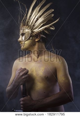 Fighter, Golden fantasy warrior, man with sword with gold skin covered