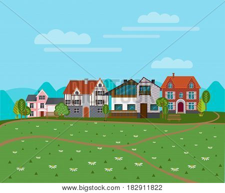 Summer rural landscape background with cottages suburban houses green trees and chamomile flowers vector illustration