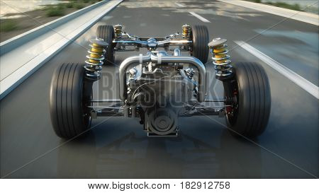 Car chassis with engine on highway. Very fast driving. Auto concept. 3d rendering