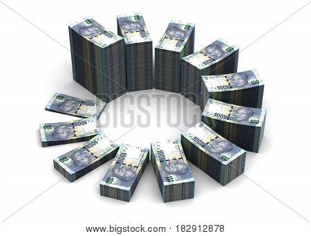 South African Rand Chart (computer generated image) 3D Rendering