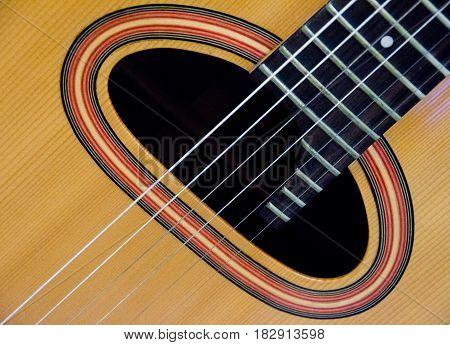 Closeup  Of Sound Hole Of A Guitar