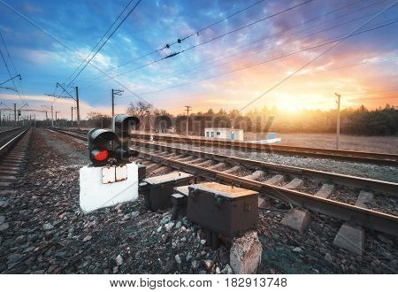 Railway Platform With Traffic Light