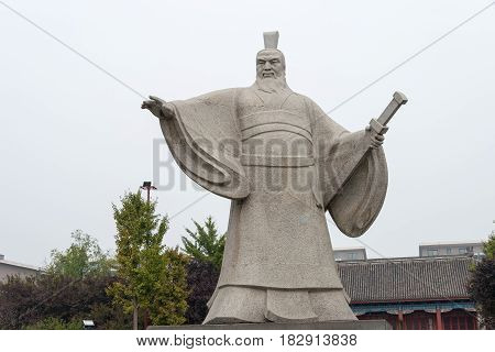 Henan, China - Oct 26 2015: Statue Of Cao Cao(155-220) At Weiwudi Square. A Famous Historic Site In