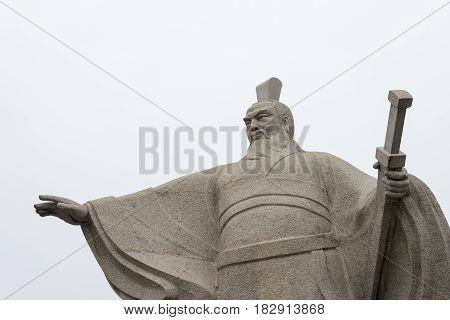 Henan, China - Oct 28 2015: Statue Of Cao Cao(155-220) At Weiwudi Square. A Famous Historic Site In