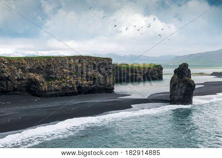 Black beach. Reynisdrangar, Vik, Iceland