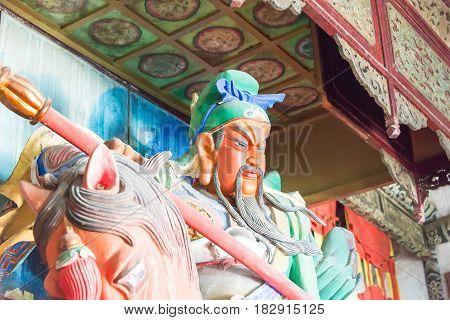 Henan, China - Oct 27 2015: Statue Of Guan Yu At Xuchang Guandi Temple At Baling Bridge Scenic Spot.