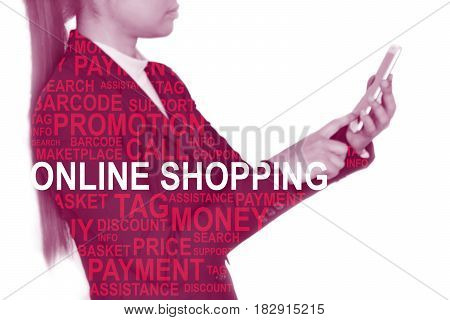 Blur young businesswomen in black suit using smart phone isolated on background. And there is a text overlay on image. - Online shopping concept.