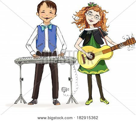 Boy playing piano and little girl playing guitar during the music lesson.  Educational concept