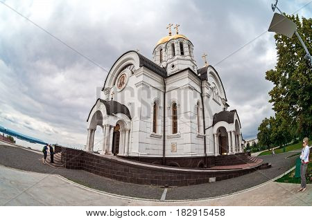 Samara Russia - june 10 2015: Russian orthodox church. Temple of the Martyr St. George in Samara Russia
