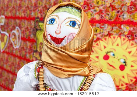 SAMARA RUSSIA - FEBRUARY 26 2017: Shrovetide in Russia. Big doll for the burning as symbol of winter during the Maslenitsa or Pancake Week