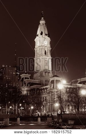 PHILADELPHIA, PENNSYLVANIA - MAR 26: City street view with urban buildings on March 26, 2015 in Philadelphia. It is the largest city in Pennsylvania and the fifth in the United States.