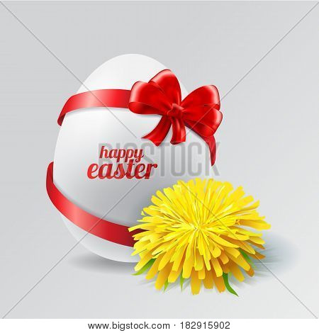 Stock Vector Easter egg with a bow, dandelion