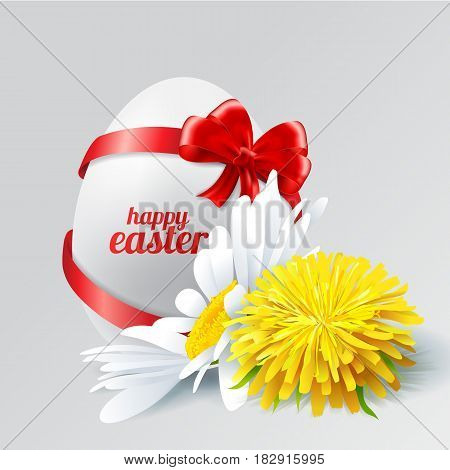 Stock Vector Easter egg with a bow, dandelion and chamomile