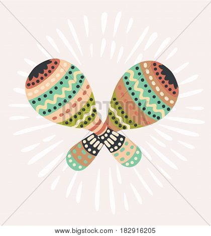 Vector cartoon cute illustration of Mexican national musical instrument decorative maracas in vintage color. Maraca, Cuba, Mexico, Carnival - Vector
