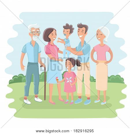 Vector illustration of big family together in the park.