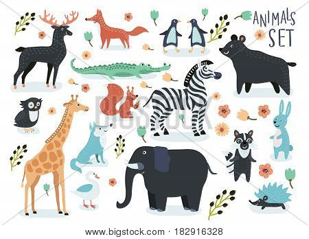 Vector set of cartoon illustrations of cartoon funny cute animals