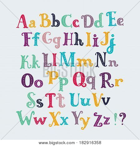 Vector hand drawn cute cartoon typography english letters set in different color. Uppercase and lowercase latin characters, and special symbols.
