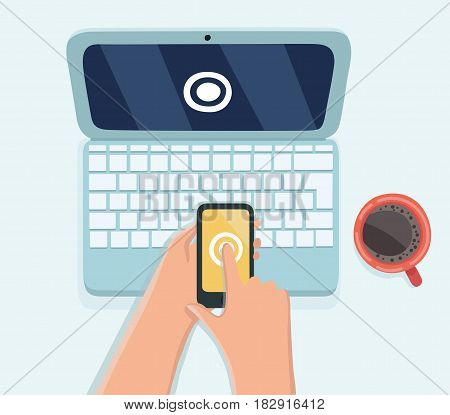 Vector cartoon illustration of human hand hold smart phone on computer laptop password protected. Vector illustration computer security with two factor authentication concept.