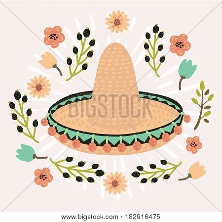 Vector illustration of mexican hat, sombrero, mexican hat isolated, mexican hat decorated with flower vintage style