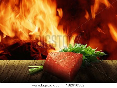 Beef on the edge of a bonfire