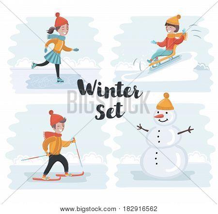Vector cartoon funny sen of scene illustrations of winter holidays. Skiing, skating girl, snowman, sledding. Winter kids fun on snowy outdoor landscape