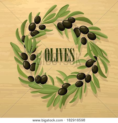 Cartoon natural black olive template with wreath of organic tree branches on light background vector illustration