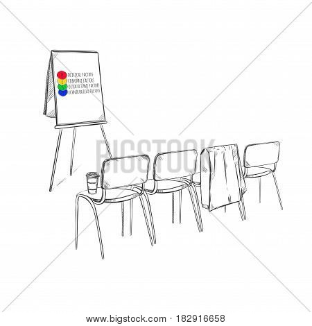 Sketch marketing strategy business presentation concept with PEST analysis on flipchart and chairs isolated vector illustration