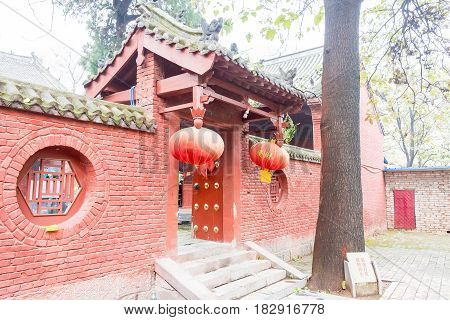 Henan, China - Nov 11 2015: Morning View At Chuzu Temple In Architectural Complex Of Shaolin Temple(
