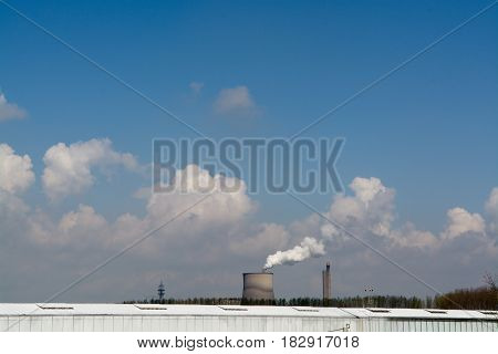 Coal Fossil Fuel Power Plant Smokestacks Emit Carbon Dioxide Pollution and greenhouse