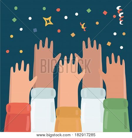 Vector illustration of many hands raised up. People celebrate the fest. confetti, streamers, firecrackers, stars above. Party night