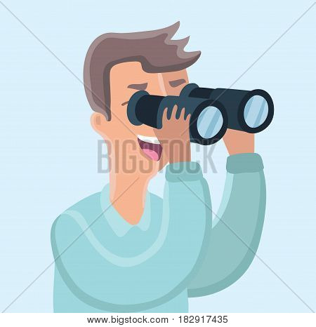 Vector cartoon funny illustration of man looking through binoculars