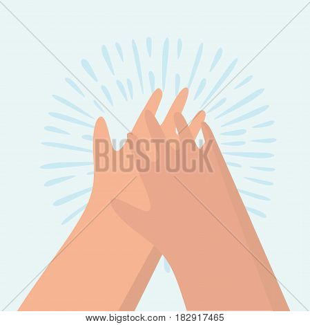 Vector funny cartoon illustration of clapping hands.
