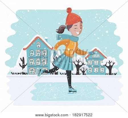 Vector carton funny illustration of cute girl skates in winter landscape. Snowy winter weather in town