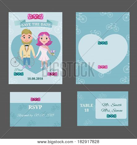 Colorful wedding invitation postcards set with hipster couple heart and bows on bicycle background isolated vector illustration