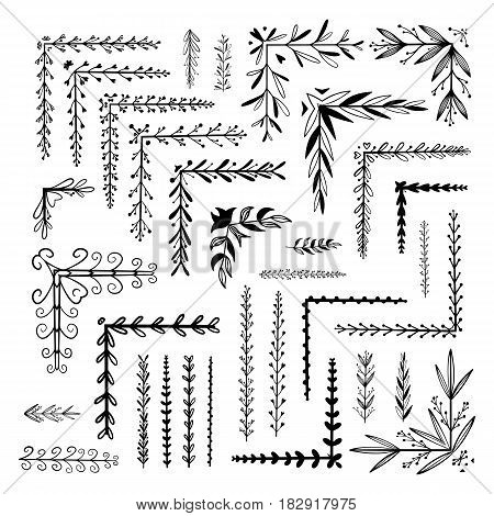 Hand Drawn Floral Borders, Dingbats, Dividers, Angles