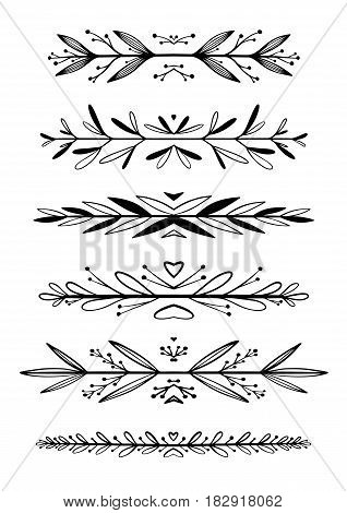Hand Drawn Floral Borders, Dingbats, Dividers
