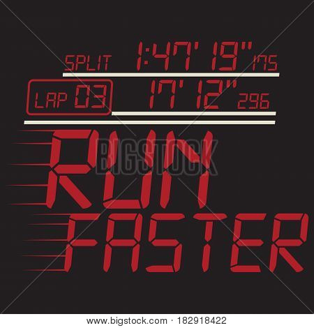 Running sport faster typography, t-shirt graphics, vectors