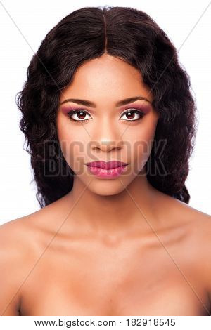 African Beauty Face With Makeup And Curly Hair