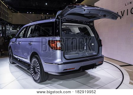 NEW YORK- APRIL 12: Lincoln Navigator shown at the New York International Auto Show 2017, at the Jacob Javits Center. This was Press Preview Day One of NYIAS, on April 12, 2017 in New York City