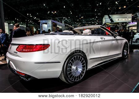 NEW YORK- APRIL 12: Mercedes- Benz  Maybach S 650 cabriolet shown at the New York International Auto Show 2017, at the Jacob Javits Center on April 12, 2017  in New York City.