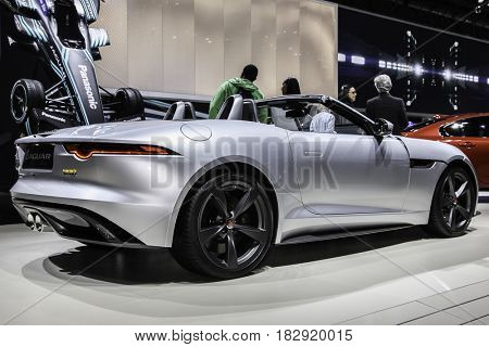 NEW YORK- APRIL 12: 2018 Jaguar F Type 400  Sport Convertible shown at the New York International Auto Show 2017, at the Jacob Javits Center on April 12, 2017 in New York City