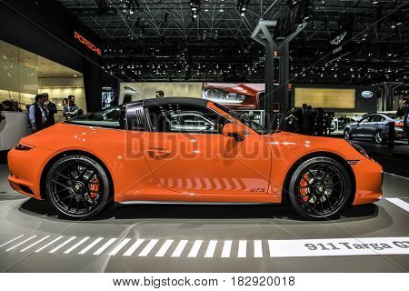 NEW YORK- APRIL 12: Porsche 911 Targa 4GTS shown at the New York International Auto Show 2017, at the Jacob Javits Center. This was Press Preview Day One of NYIAS, on April 12, 2017 in New York City