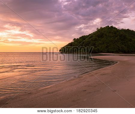 Tropical island and paradise beach landscape beautiful sunset