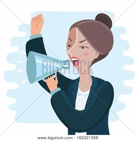Vector illustration of pretty of angry Business woman yelling through megaphone and shaking her hand