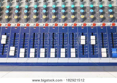 sound mixer control. equipment old which has dust select focus with shallow depth of field.